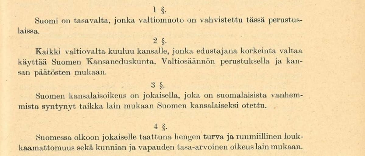 Valtiosääntöehdotus 1918 pykälät 1-4