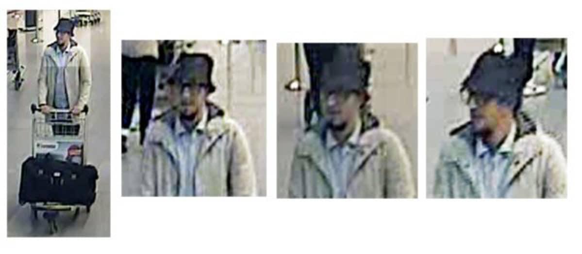 Belgian poliisin julkaisema kuva Brysselin lentokentän pommi-iskusta epäillystä miehestä.