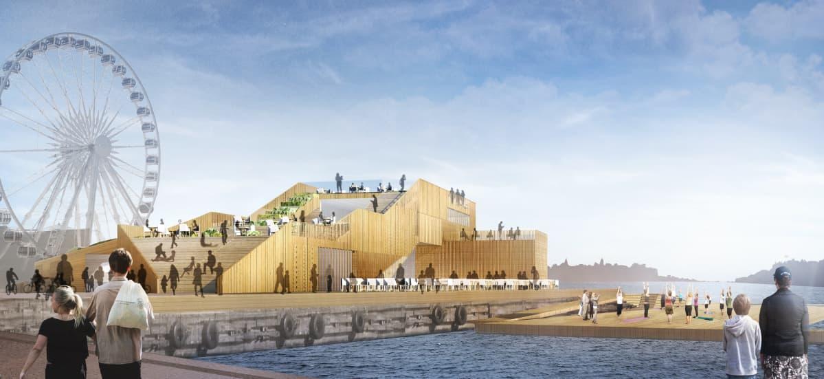 Tältä näyttää täysin valmis uusi merikylpylä Helsingin keskustassa, Presidentinlinnan vieressä, kesällä 2017.