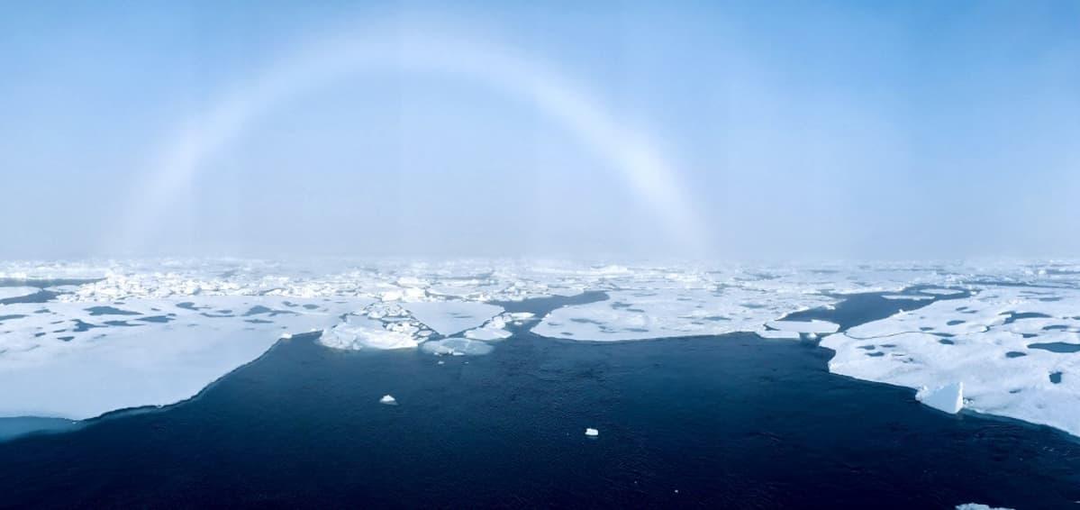 Valkoisia jäälauttoja tummansinisen meren ja vaaleansinisen taivaan välissä.