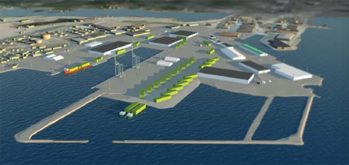 Havainnekuva moduulikuljetuksista Haminan sataman kautta.