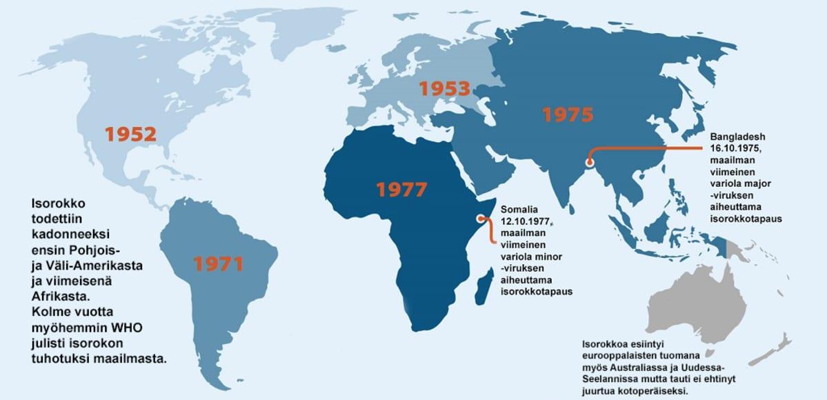 Maailmankartta, johon on merkitty isorokon hävittämisen vuodet: Pohjois- ja Väli-Amerikka 1952, Eurooppa, Etelä-Amerikka 1971, Aasia 1975 ja Afrikka 1977. Australiaan isorokko ei ehtinyt koskaan juurtua. Lisäksi paikat, joissa todettiin viimeiset isorokkotapaukset: variola major Bangladeshissa 16.10.1975 ja variola minor Somaliassa 12.10.1977.