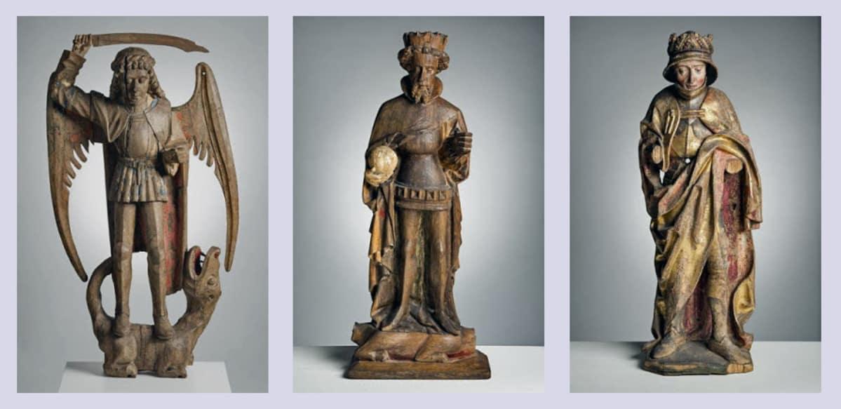 Kolme puupatsasta keskiaikaisista kirkoista.