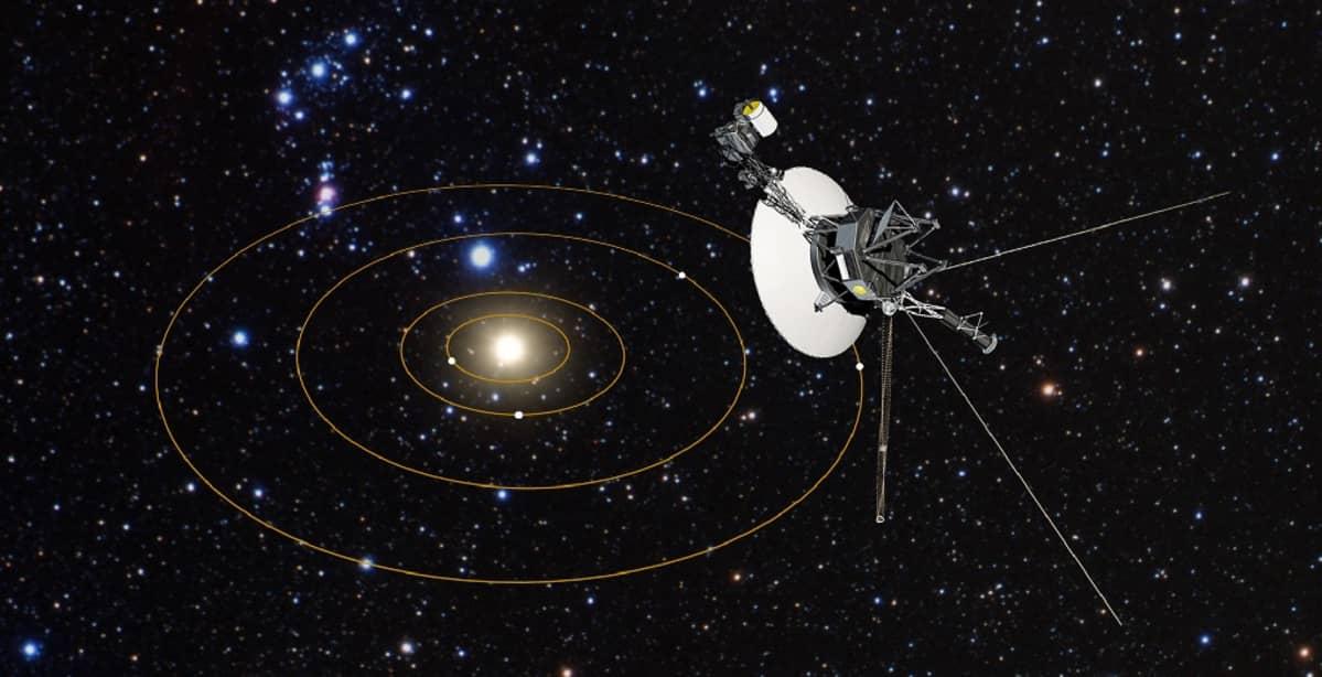 Lautasmainen luotan, josta sojottaa antenneja ja mittalaitteita. Kuvan keskellä täplänä aurinko, taustana Linnunradan tähtiä.