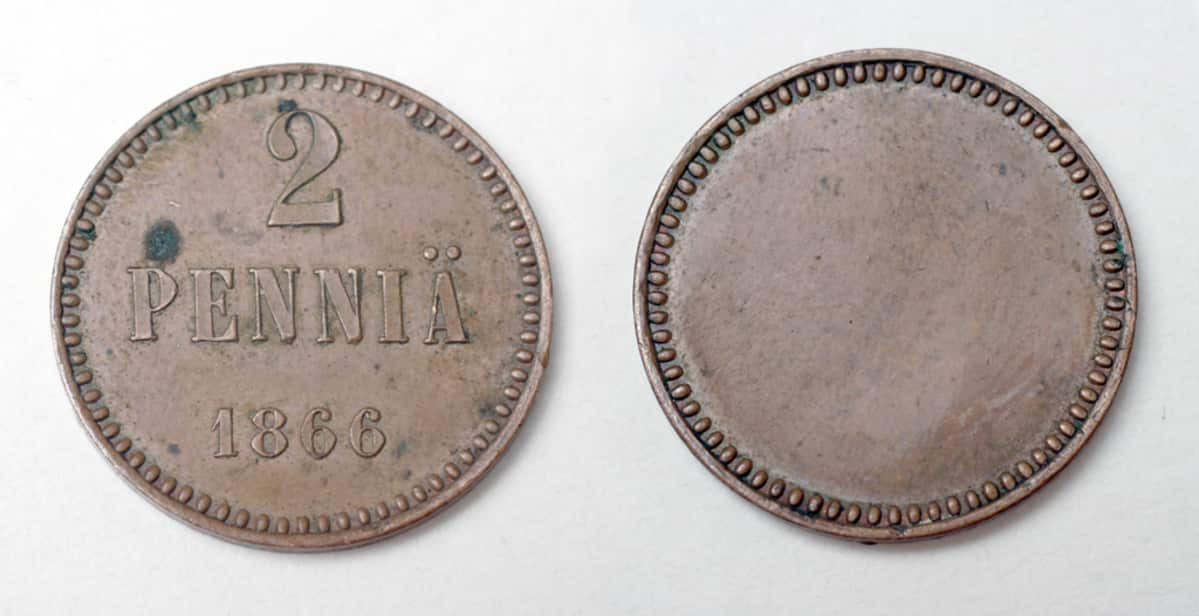 Kahden  pennin kolikko