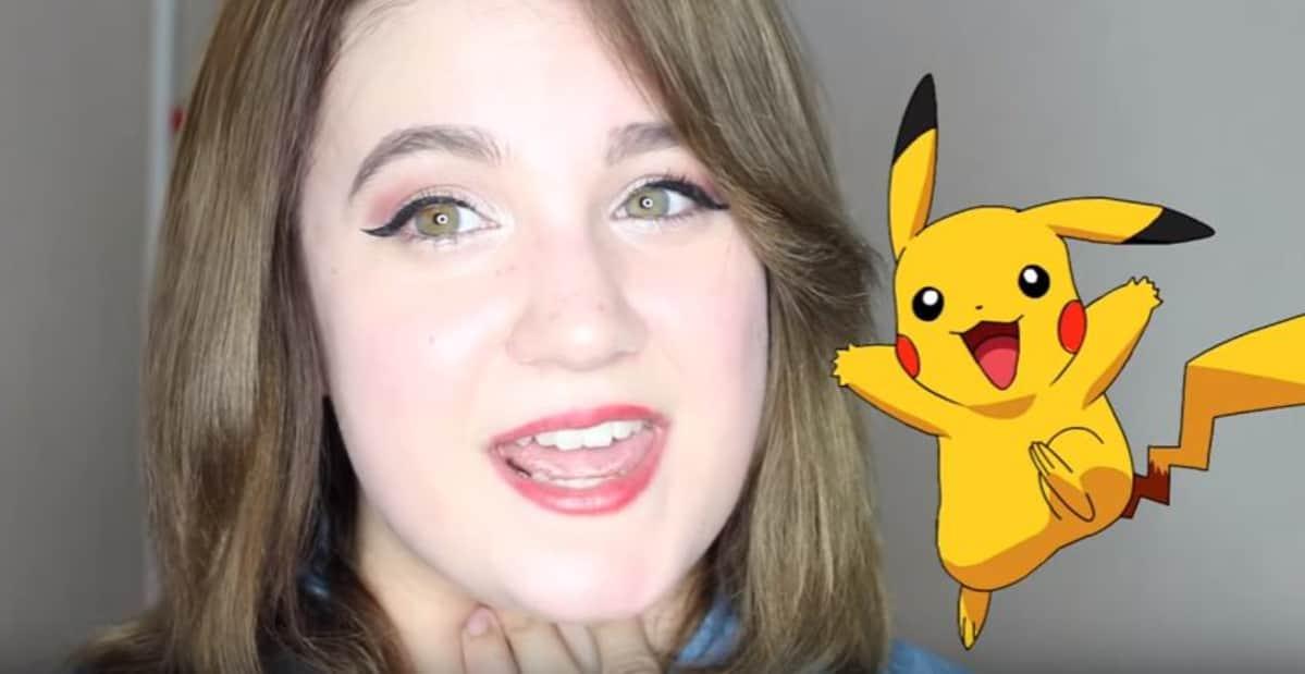 Jenny Pitkänen imitoimassa Pikachua.