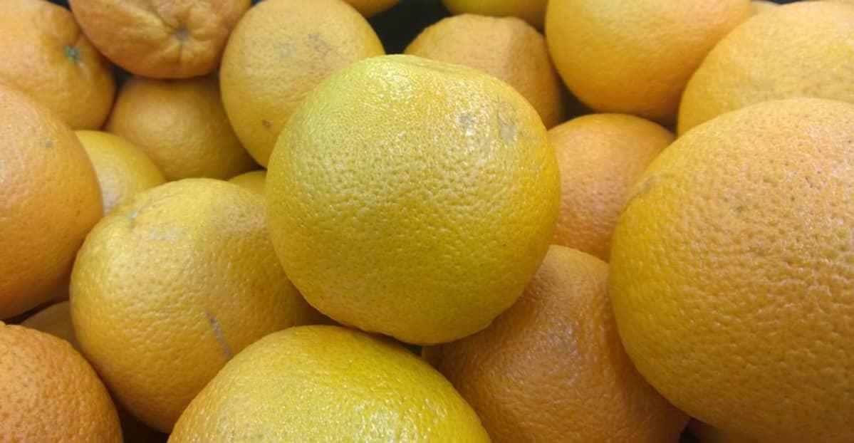 Lähikuva appelsiineistä kaupassa.