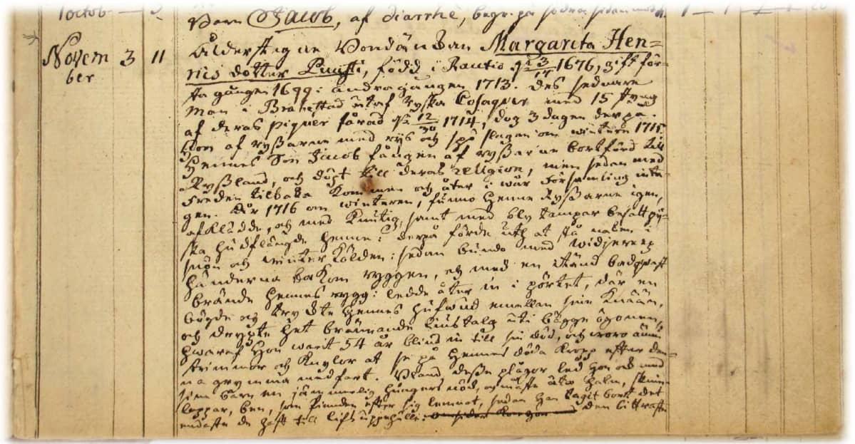 Saloisten kirkonarkiston kuolleiden luetteloon vuodelta 1770 on pappi tallentanut Margeta Henricsdotter Puustin järkyttävän elämäntarinan