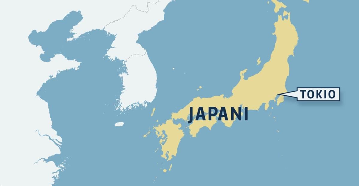 Japanin kartta, johon on merkitty pääkaupunki Tokio.