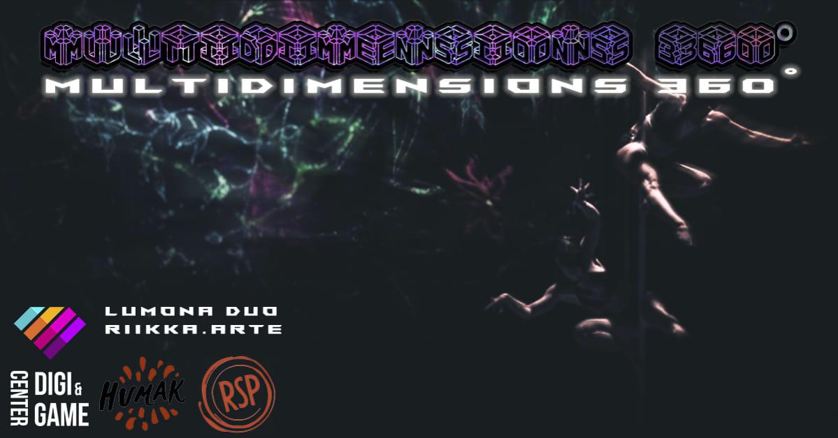 Mustalla taustalla logomainen teksti Multidimensions ja tankotanssijan hahmo.