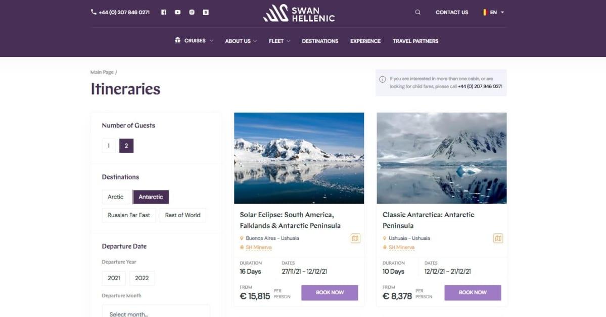 Swan Hellenicin verkkosivut