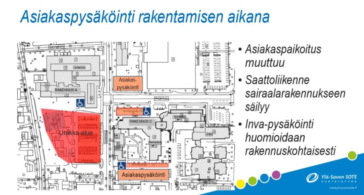 Kartta Iisalmen sairaalan parkkipaikoista.
