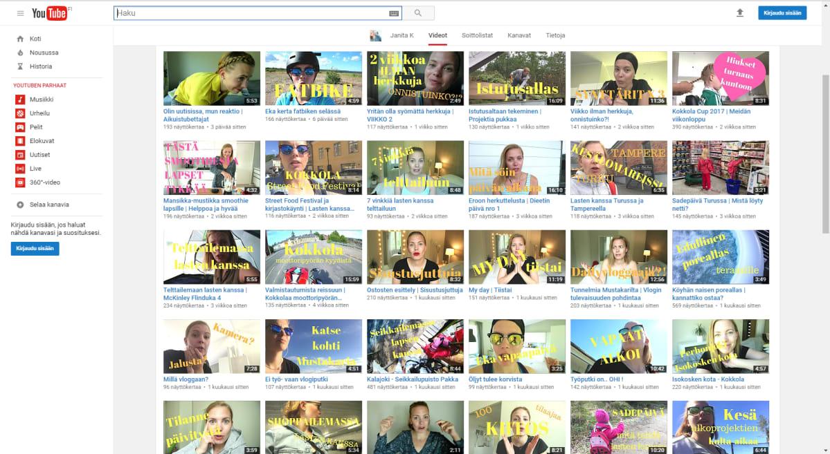 Kuvakaappaus Janita K:n tililtä Youtubesta.
