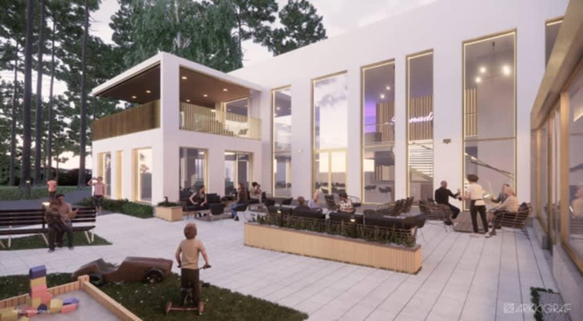 Havainnekuva Vierumäki-yhtiöiden uudesta rakennuksesta