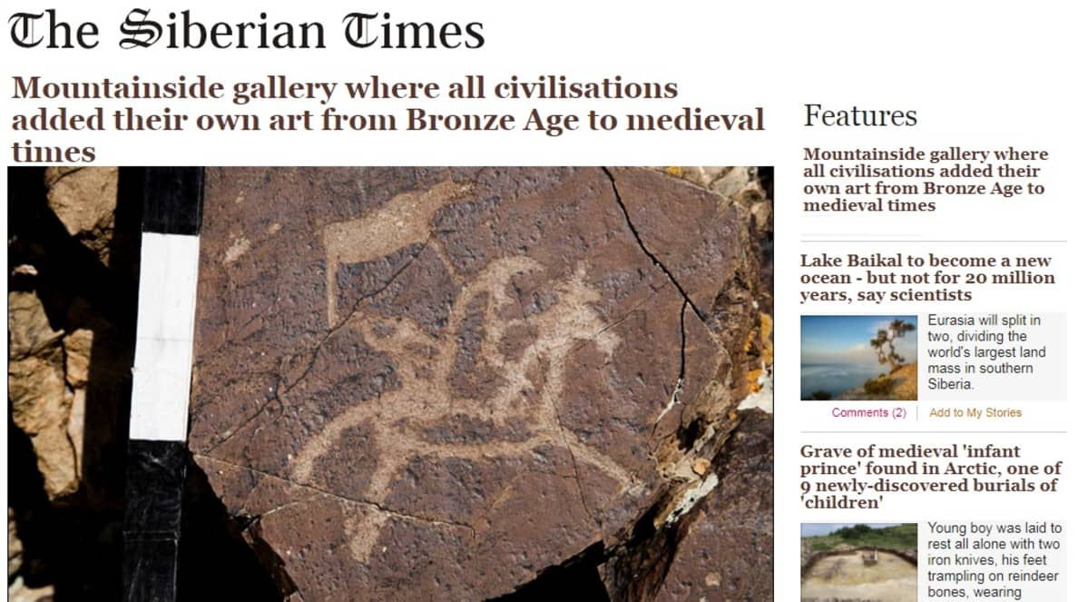 Kuvakaappaus The Siberian Times -lehdessä. Kuvassa kalliopiirros ratsastajasta.
