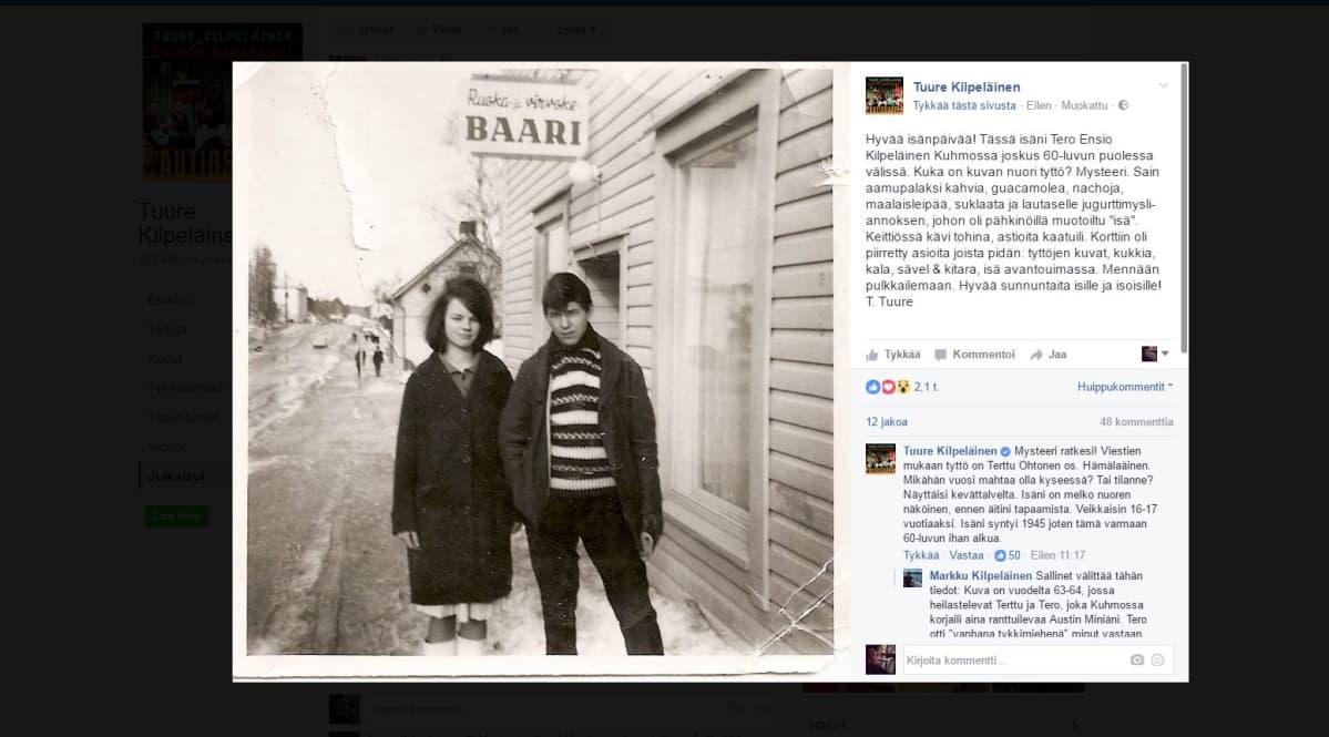 Kuvakaappaus Tuure Kilpeläisen Facebook-profiilista, jossa on vanha kuva Tuuren isästä ja nuoresta naisesta 1960-luvun Kuhmossa.