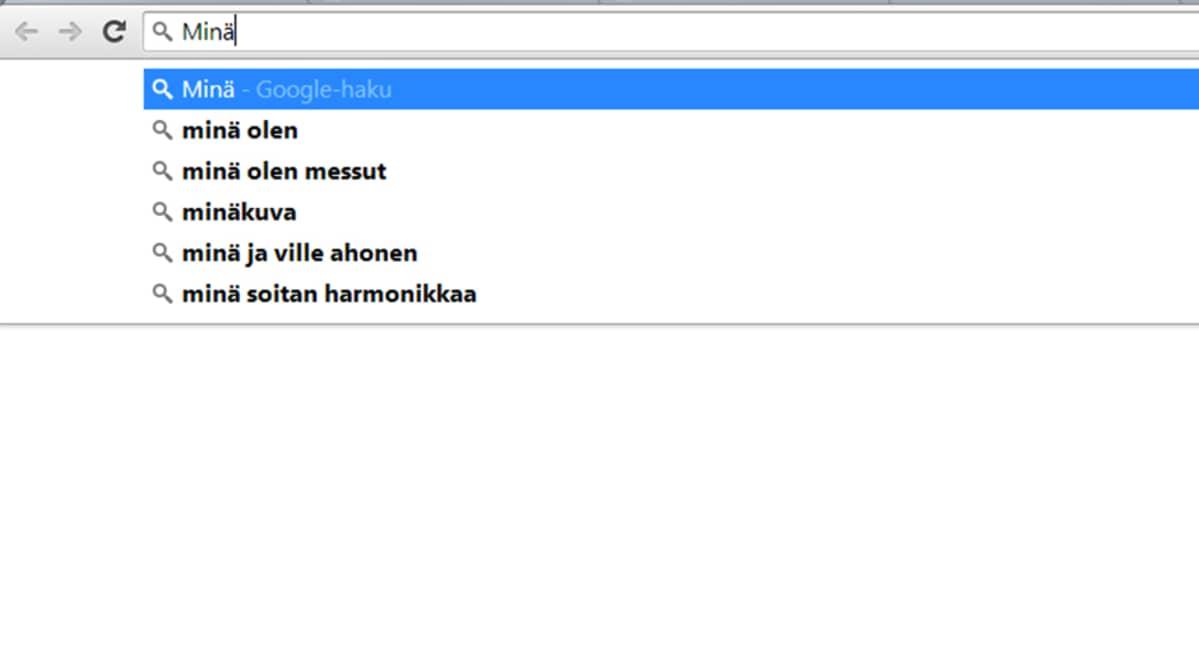 """""""Minä"""" -sana Googlen hakukoneessa."""