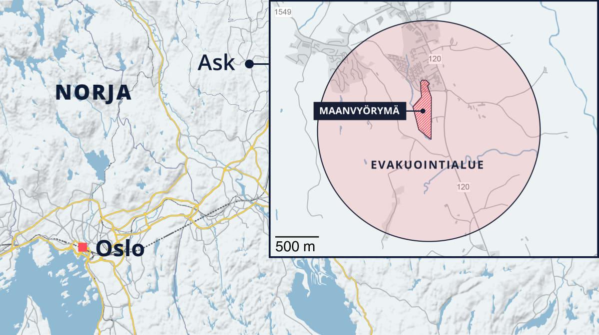 Norjan Gjerdrumin alueella tapahtuneen maanvyörymän ympäriltä evakuoidaan useiden kilometrien alue. Alkuperäinen vyörymäalue oli noin 20 hehtaaria, mutta alueen reunoilla on tapahtunut uusia sortumia. Evakuointialueen tarkat rajat eivät näy kartassa.