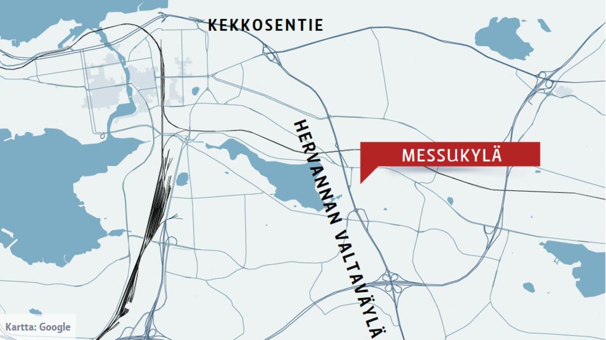 Kartta Messukylän ja Kekkosentien sijainnista suhteessa Hervannan valtaväylään
