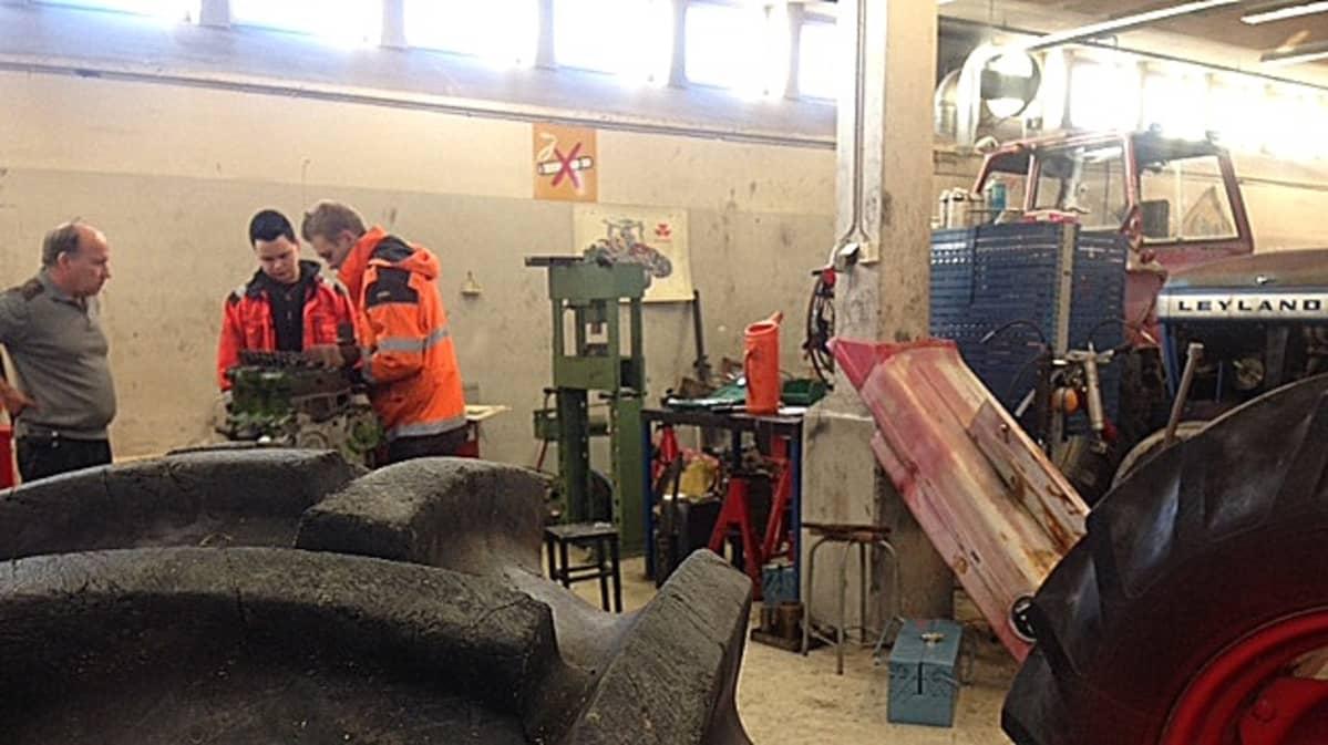 miehet korjaavat traktorin moottoria anjalan maatalousoppilaitoksessa