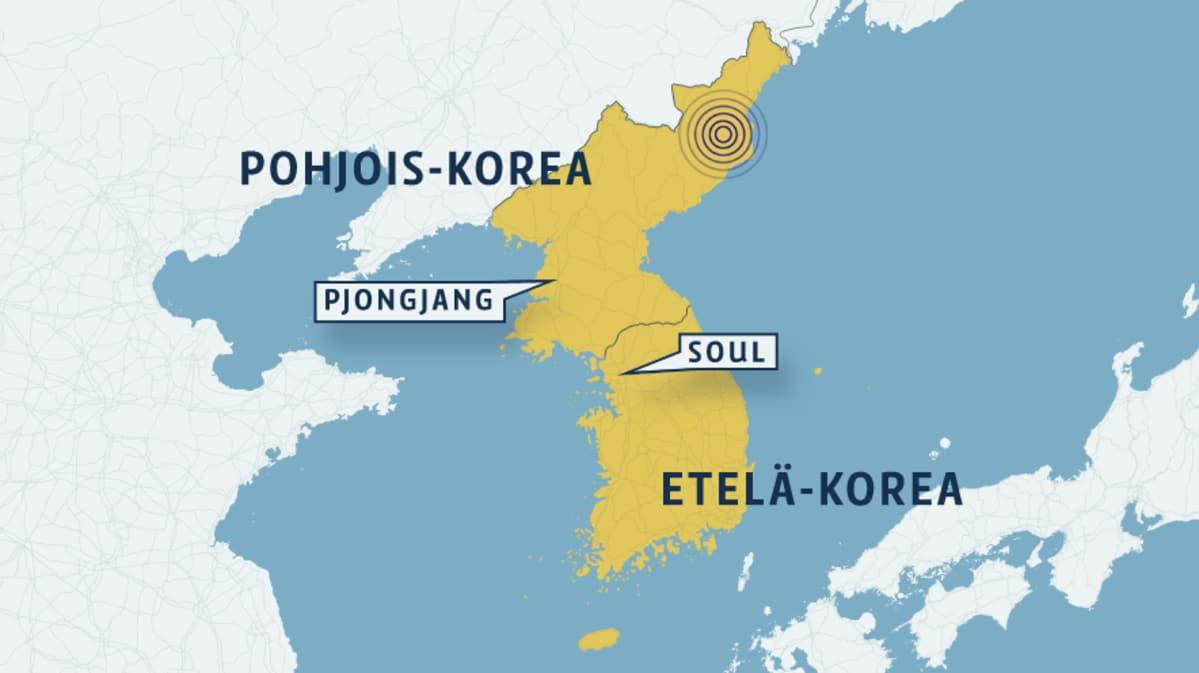 Kartta, johon on merkitty Pohjois- ja Etelä-Korea.