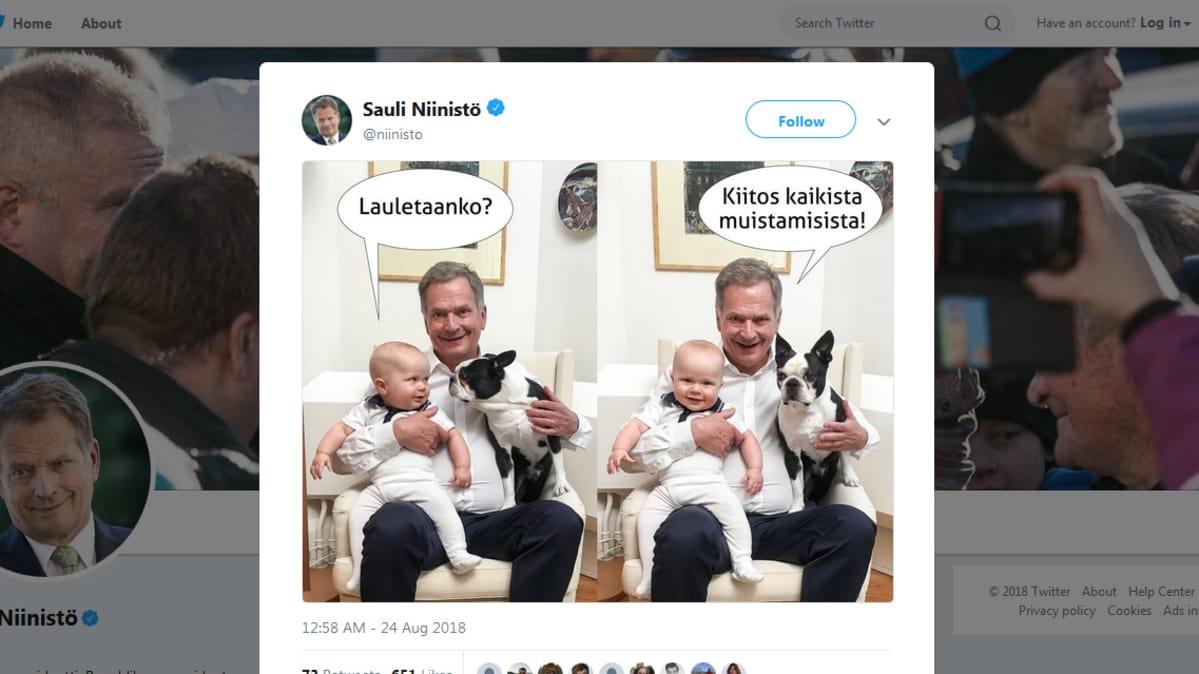 Sauli Niinistö, Aaro ja Lennu Twitter-kuvassa.