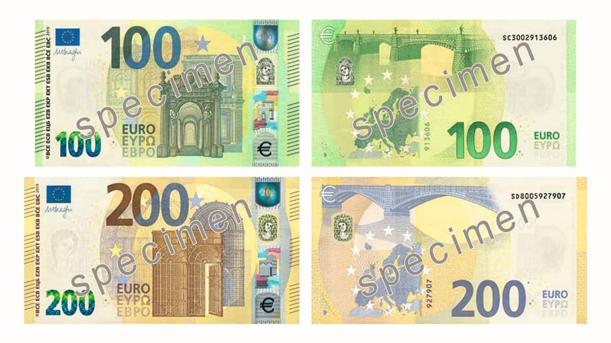 Uudet 100 ja 200 euron setelit.