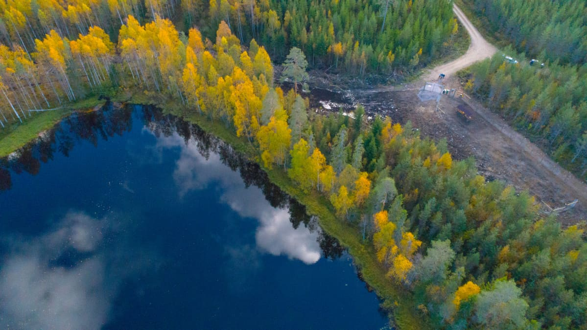Ilmakuva metsäpeurojen sopeutustarhasta Katstulassa