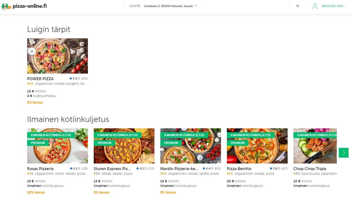 Kuvakaappaus Pizza-onlinen etusivusta