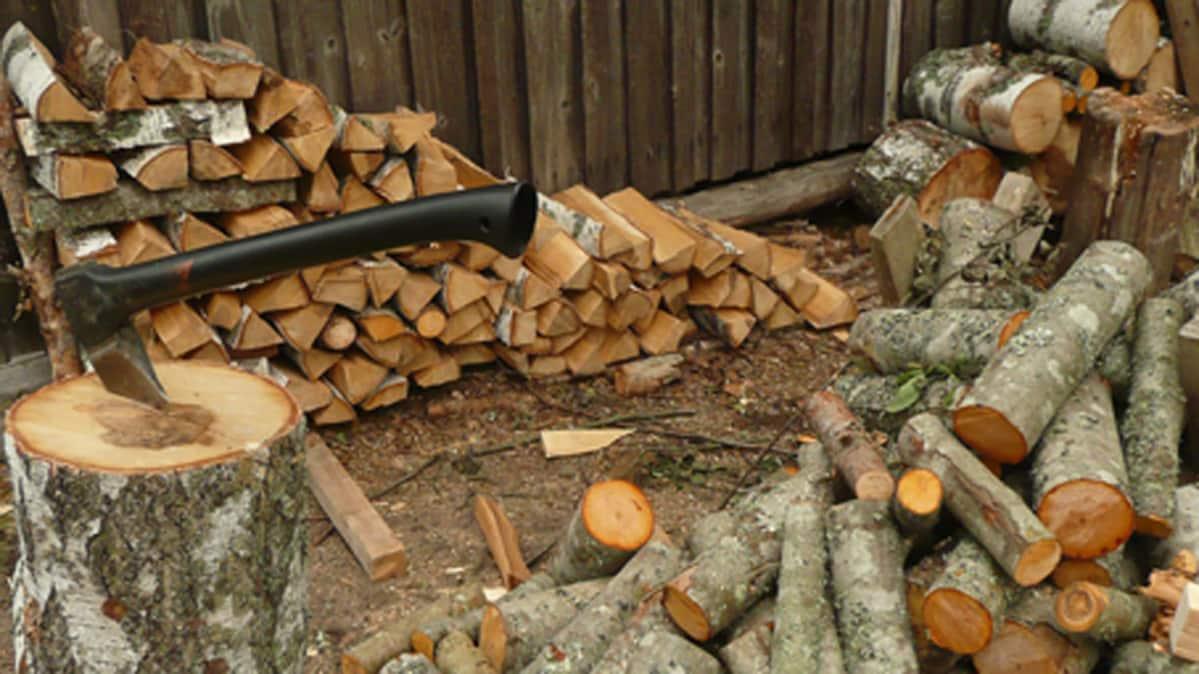 kirves halonhakkuu pölkky puita