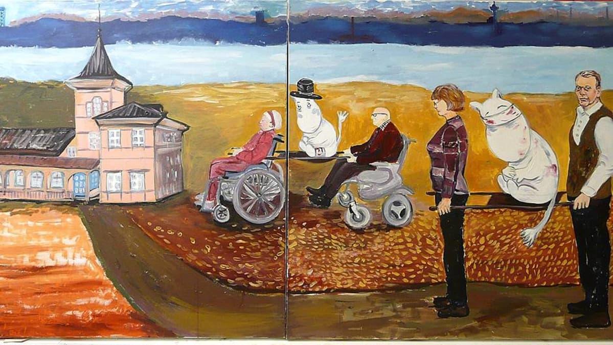 Omaishoidettavien kantaaottava taideteos, jossa haavoittuneita muumeja kannetaan uuteen kotiin