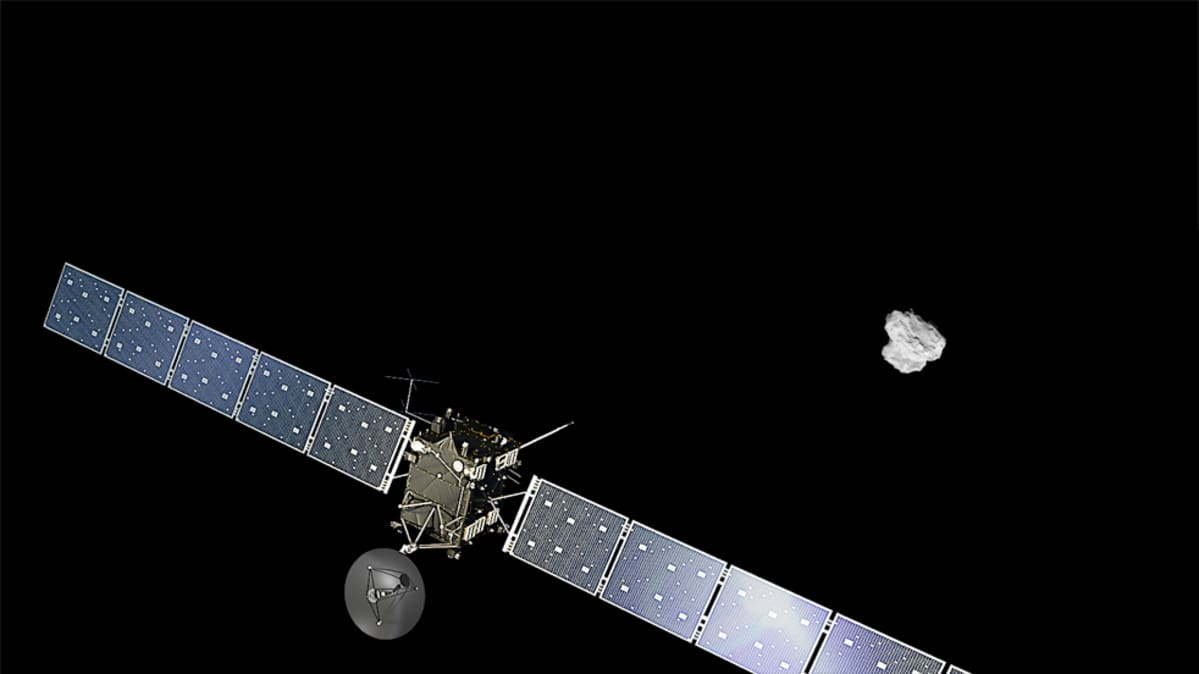 Rosetta-luotain ja komeetta.
