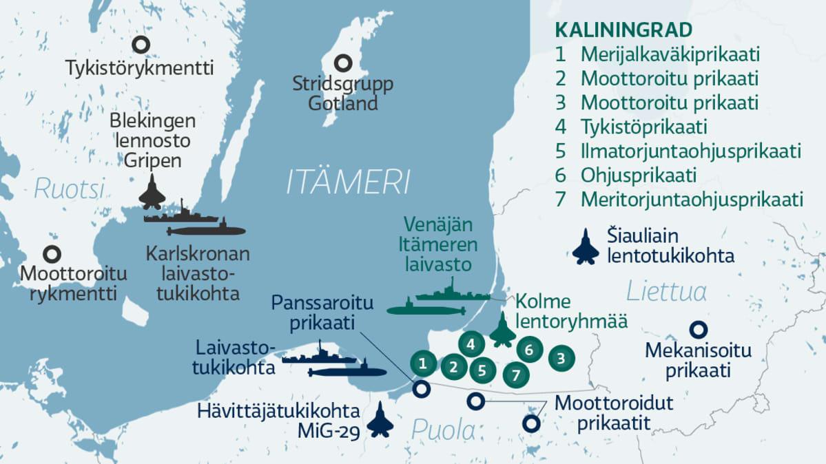 Kaliningradin ja lähialueen merkittävät joukko-osastot.