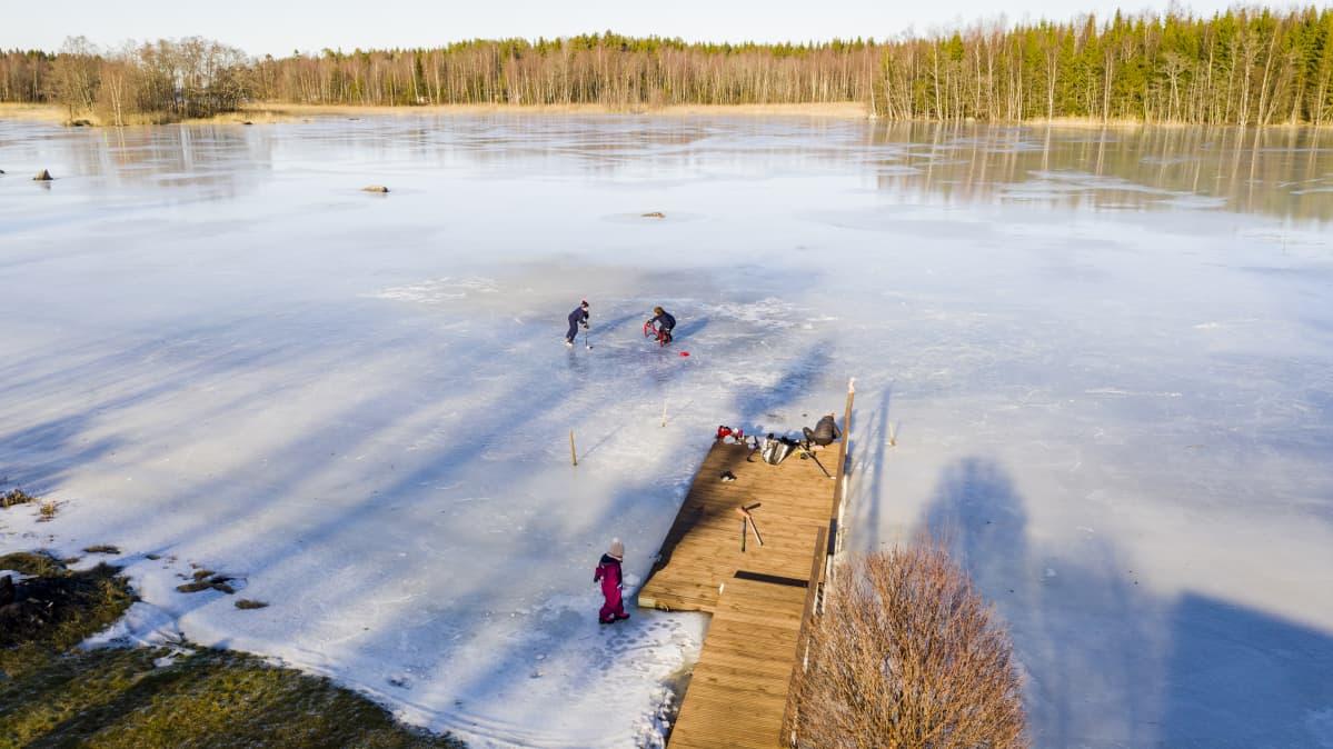 perhe luistelee järvenjäällä hickaröösa