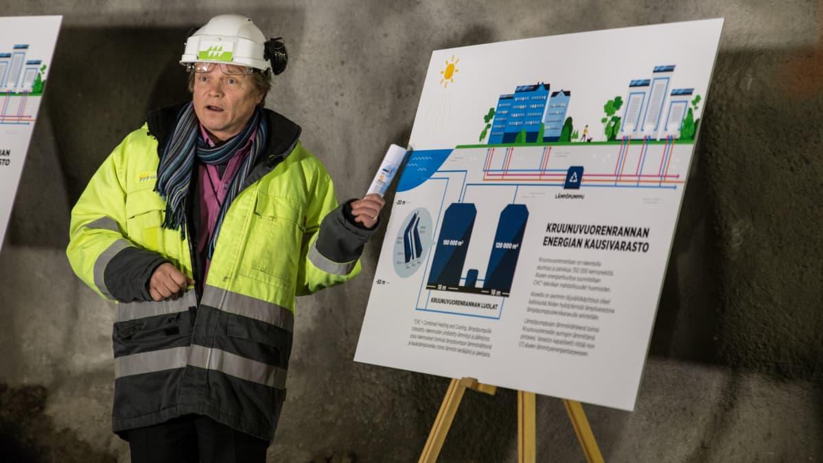 Kehityspäällikkö Jouni Kivirinne, Helen, kaavion äärellä.