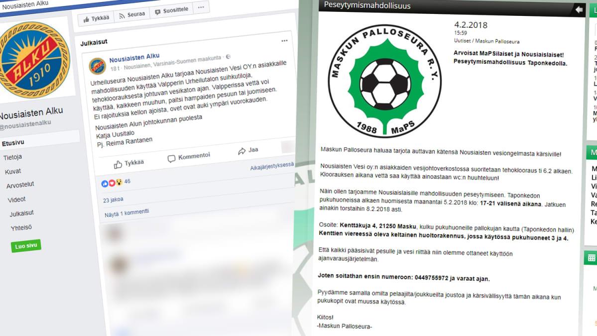 Kuvakaappaukset Nousiaisten Alku -urheiluseuran Facebooksivulta ja Maskun Palloseuran verkkosivuilta