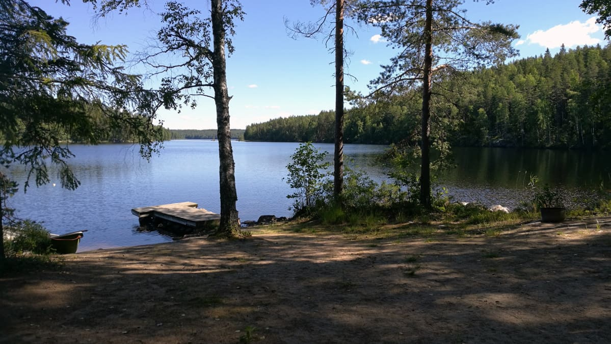 Maisema mökkirannasta järvelle