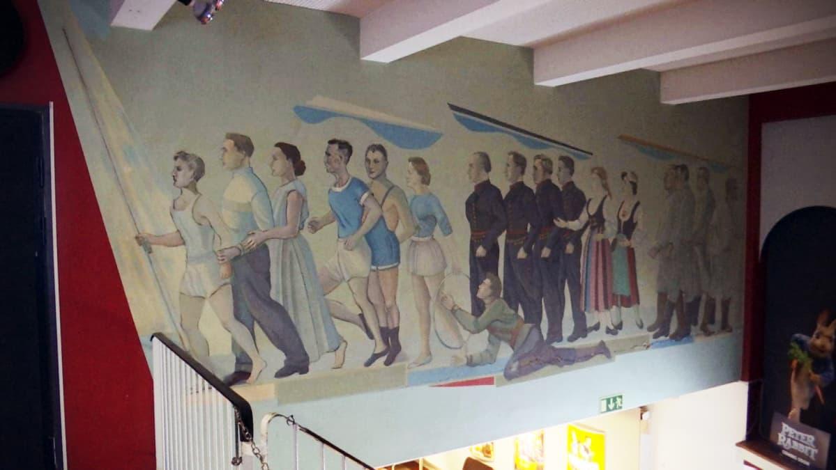 Taiteilija Arvid Bromsin fresko Maakuntatalon yläaulassa.