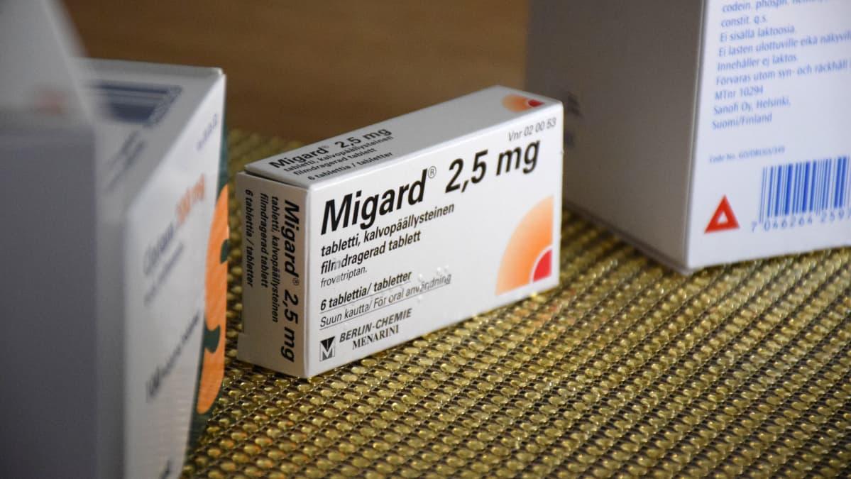 Migreenilääkkeitä.