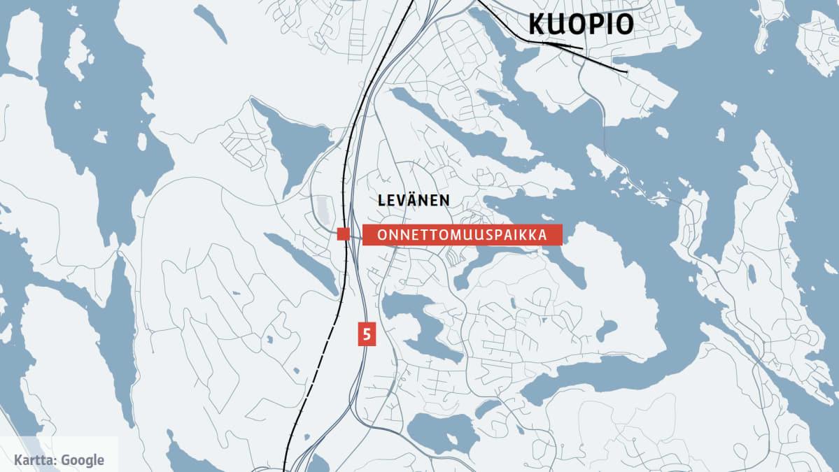 Bussi Syoksyi Sillalta Rautatielle Viitostiella Kuopiossa