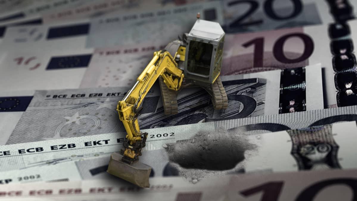 Kaivuri kaivaa rahapinoa.