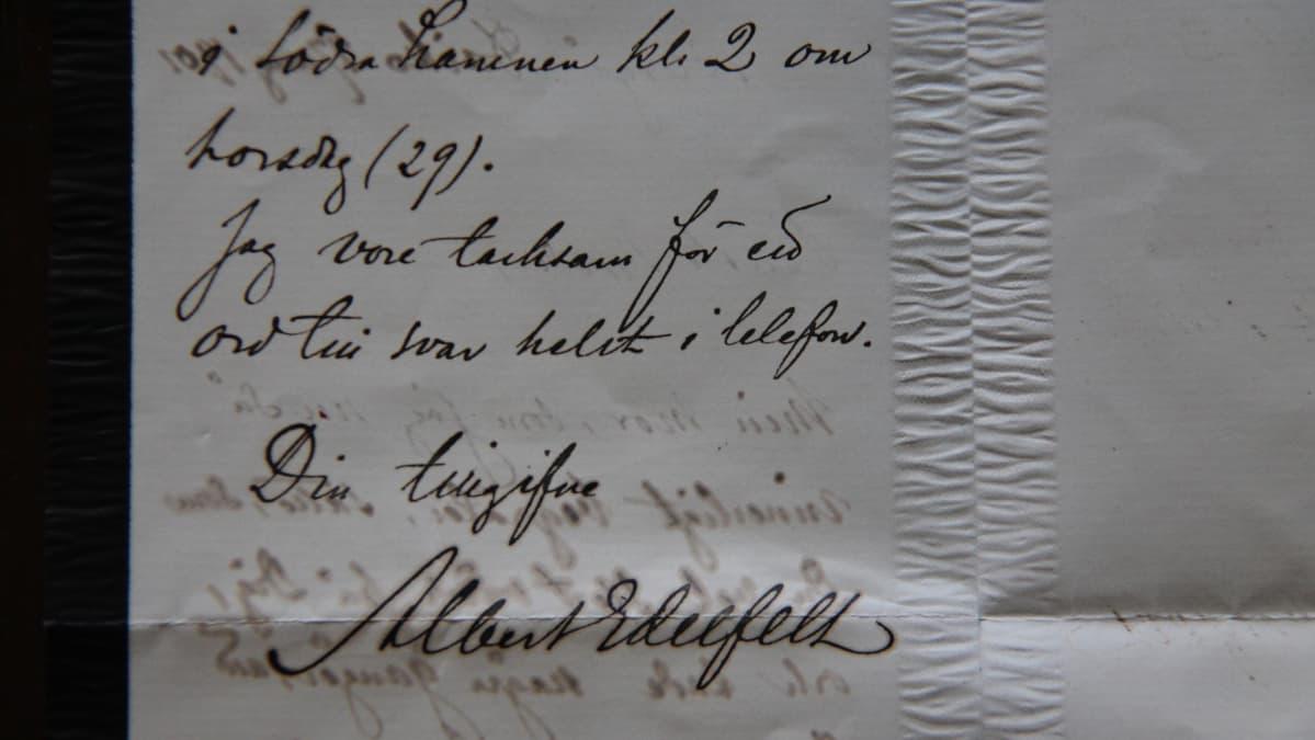 Albert Edelfeltin äidin hautajaiskutsu
