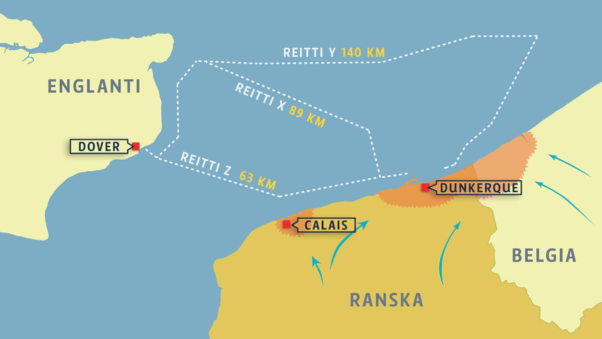 Dunkirk / Dunkerque kartta: evakuointireitit