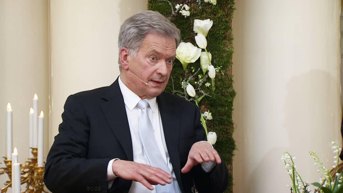 Tasavallan presidentti Sauli Niinistö Ylen haastattelussa itsenäisyyspäivänä.