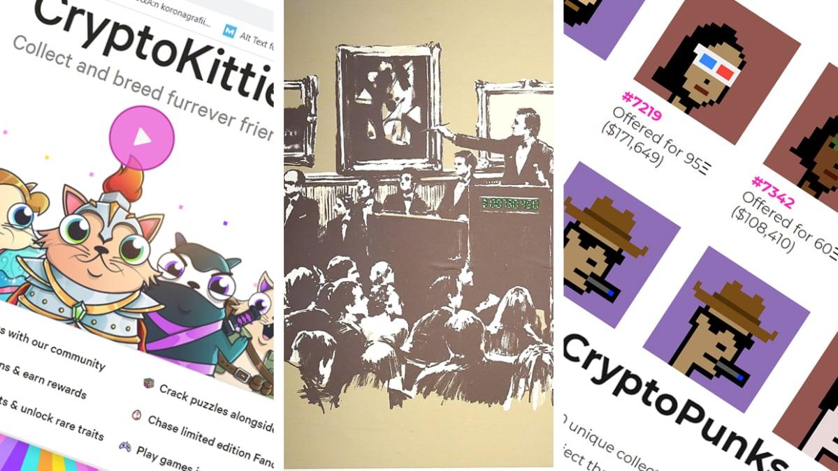 Erilaisia kryptoteoksia: CryptoKitties, Banksy ja CryptoPunks.