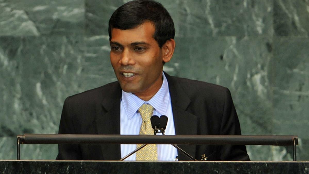 Malediivien presidentti Mohamed Nasheed puhuu YK:n yleiskokouksessa.