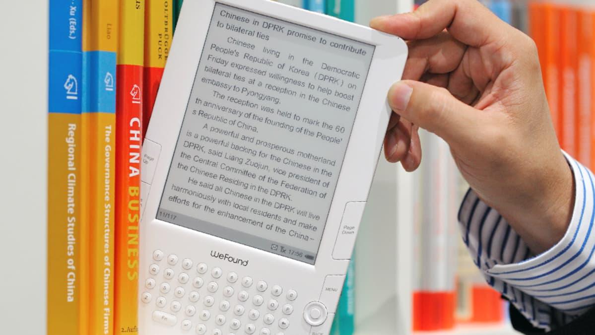 Digitaalinen kirjojen lukulaite.