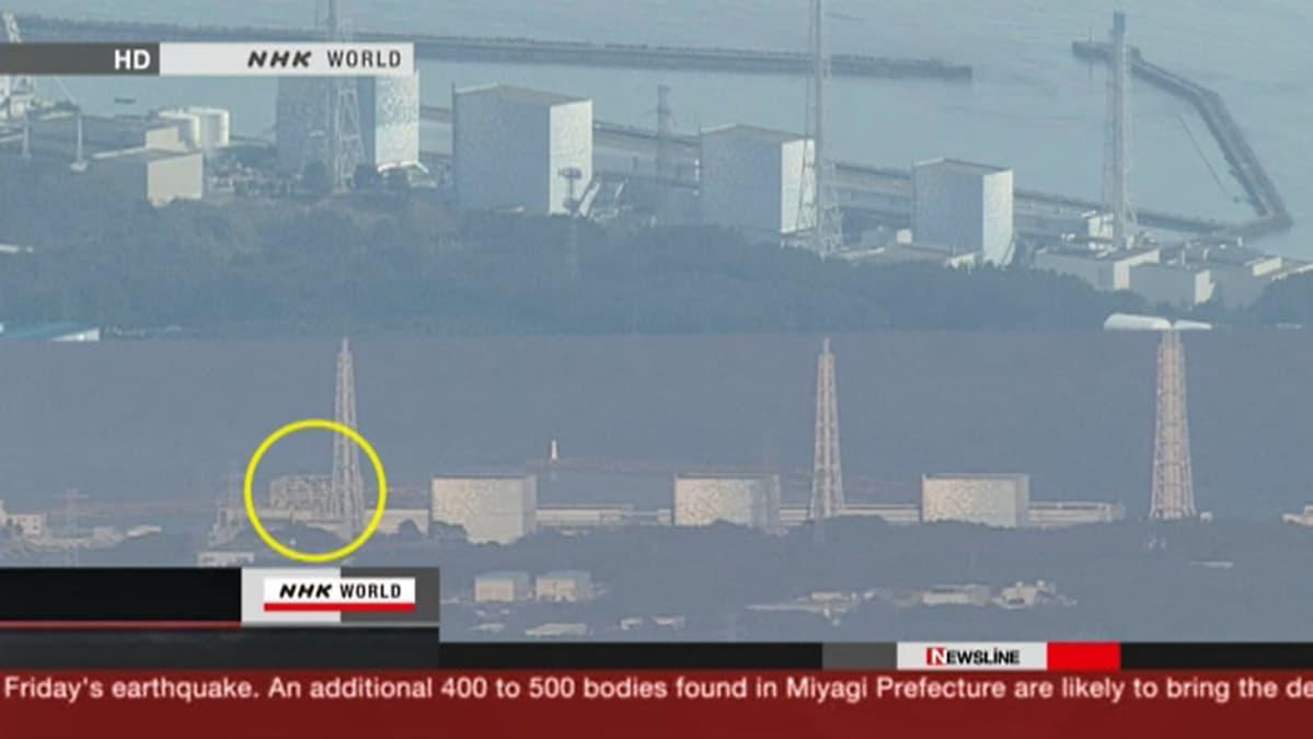 NHK Worldin kuvasta näkyy, että Fukushiman ydinvoimalan ensimmäinen reaktori on muuttunut luurankomaiseksi.