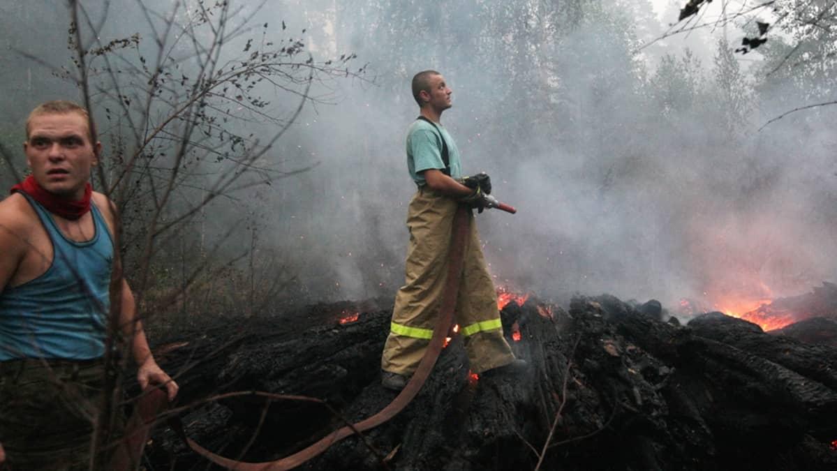 Palomiehet sammuttavat metsäpaloa Rjazanovskijin kylässä 150 kilometrin etäisyydellä Moskovasta viime syksynä.