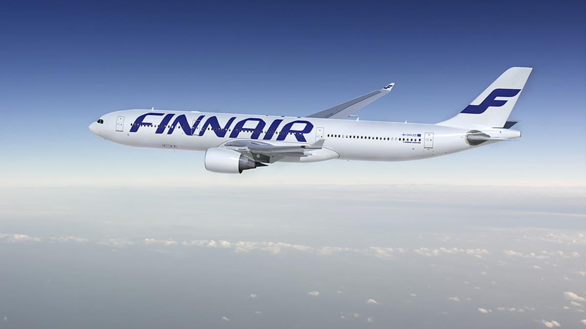Kuva Airbus A330 -lentokoneesta, joka on maalattu Finnairin uuden brändin mukaisesti.